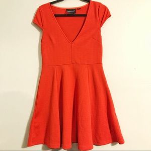 Red Stretchy A-Line V Neck Dress with Cap Sleeves